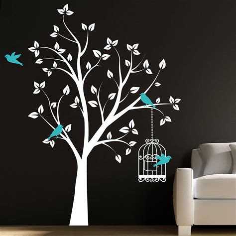 wall and stickers tree with bird cage wall stickers by parkins interiors notonthehighstreet