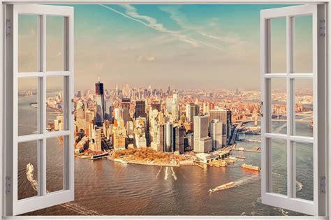 Garden Wall Murals huge 3d window view new york city wall sticker film mural