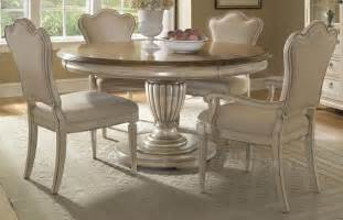 distressed white wash 5 piece round dining room set