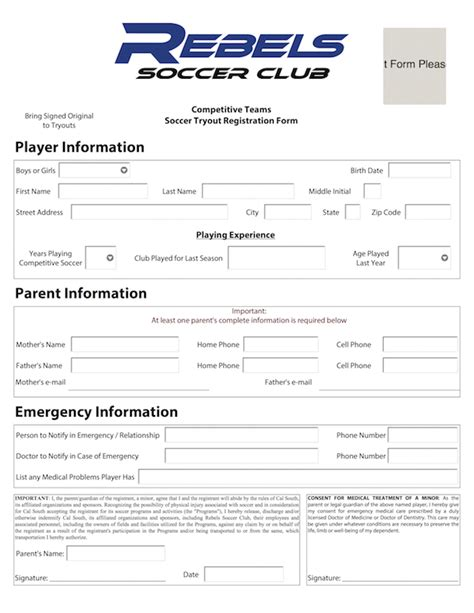 soccer registration form template tryout registration 2016 rebels sc