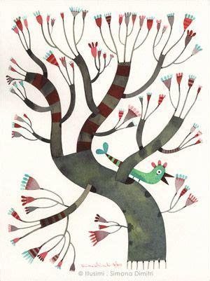 katzen und pflanzen 4771 simona dimitri illustration baum und wanddeko