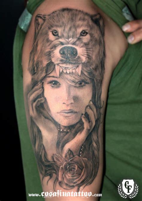 girl head tattoo with wolf headdress wallpaper