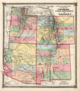 county map of colorado utah new mexico and arizona