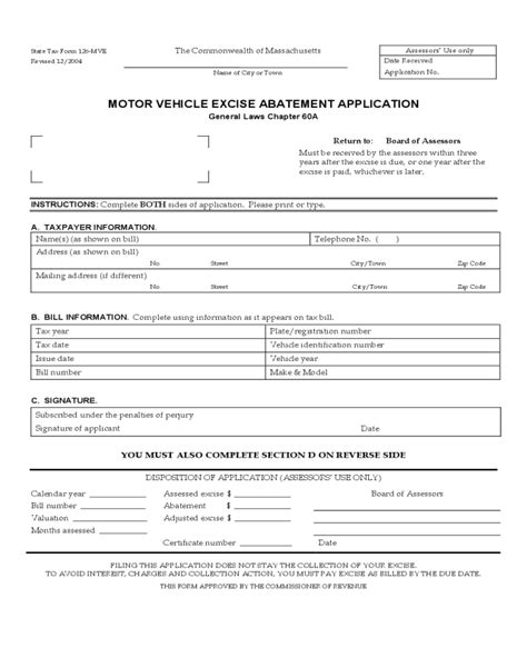 car application ma motor vehicle excise tax abatement form impremedia net