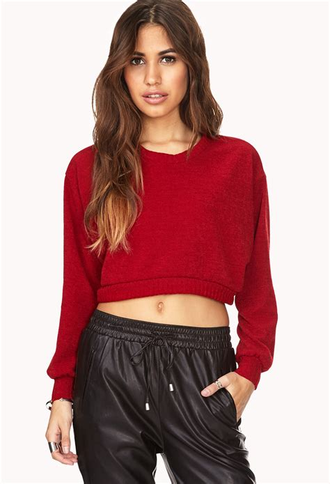 Sweater Insave 1 forever 21 day cropped sweater in lyst