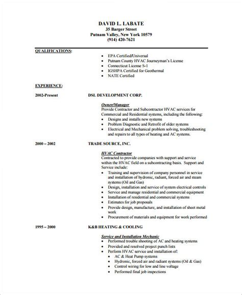 Pdf Resume Template by Hvac Resume Template 7 Free Sles Exles Format
