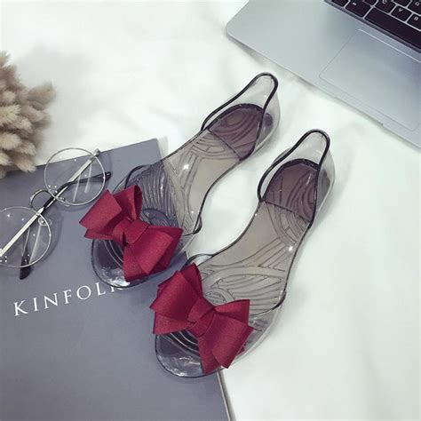 Bara Bara Jelly Shoes Flat Casual 1 2018 summer new favolook bow flower jelly casual sandals flip flops flat shoes