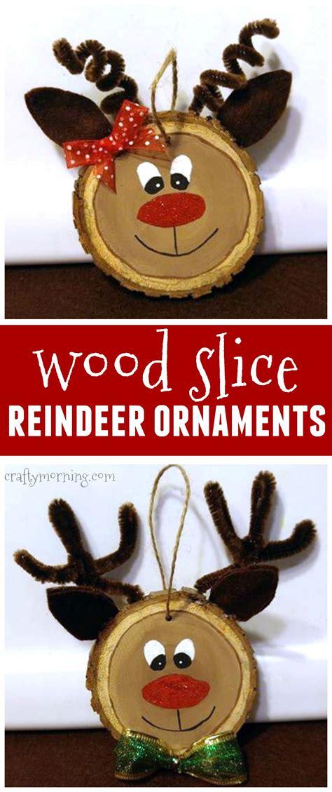 wood slice reindeer ornaments   kids christmas craft