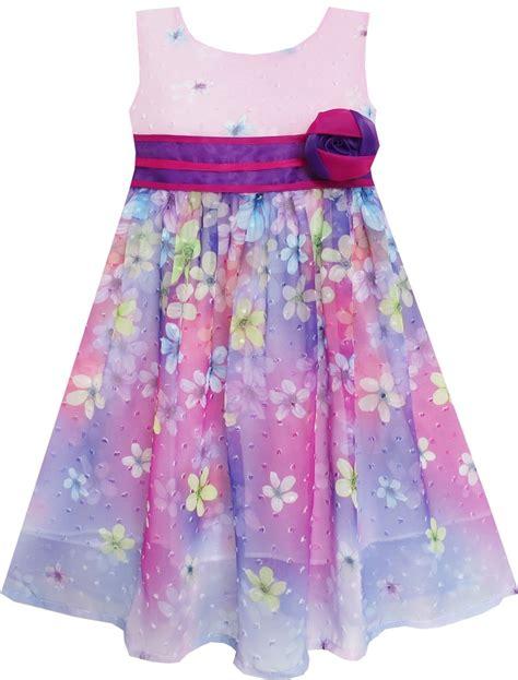 21300 Purple Fashion Flower Size S dress a line flower detailing striped