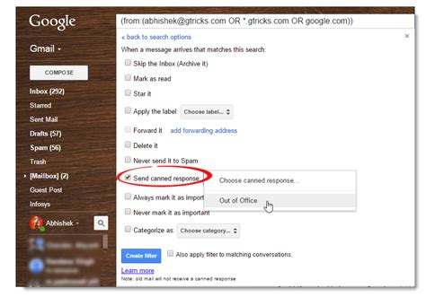 Out Of Office Gmail by Create Out Of Office To Certain Addresses In Gmail