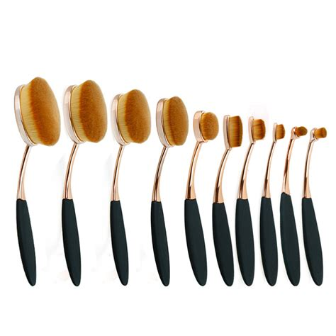 Brush Make Up Oval 10pcs oval makeup brush set professional gold make up brushes set oval brush set cosmetic