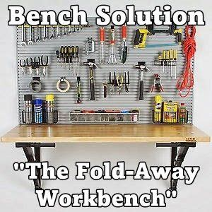 bench solutions fold away workbench garage organization made easy bench solution quot the fold