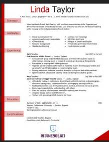 Resume Exles Elementary School by Resume Exles 2016 For Elementary School