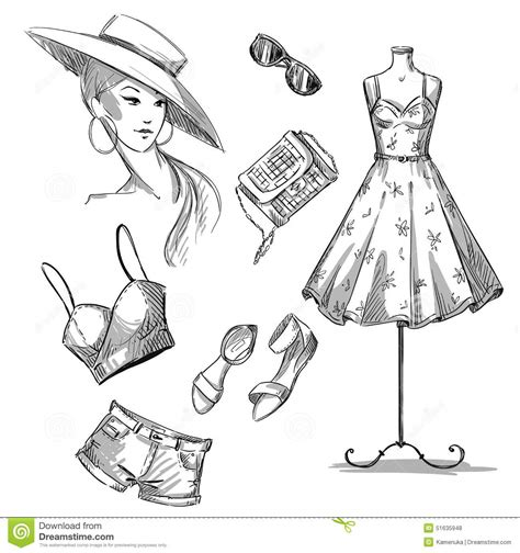 fashion illustration accessories fashion illustration collection of summer clothing and accessories stock vector image 51635948