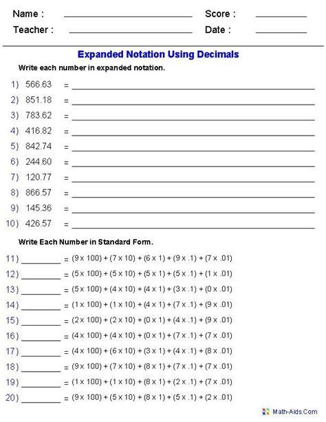 decimal place value worksheets 6th grade expanded notation using decimals place value worksheets