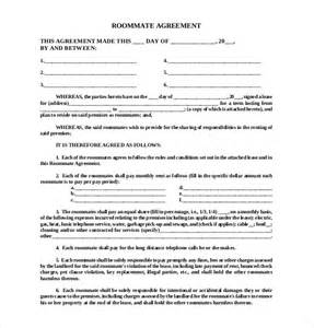 Roommate Agreement Template by 12 Roommate Agreement Templates Free Sle Exle