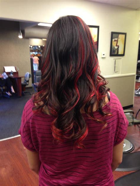 dark hair with highlights underneath blood red highlights red peekaboo highlights hair