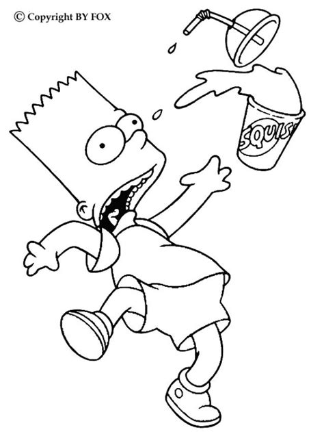 bart and his drink coloring pages hellokids com