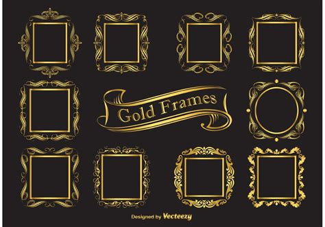 Stiker Original Gold Oval gold vector frames free vector