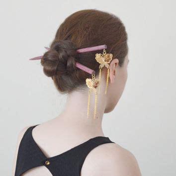 Set Of 2 Butterfly Hair Stick best japanese hair pins products on wanelo