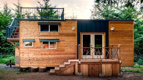 tiny house deck storage integrated tiny home with large rooftop deck