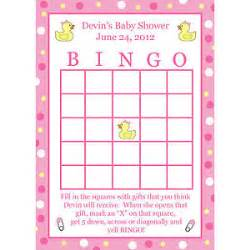 Rubber Duck Theme Baby Shower - 24 personalized baby shower bingo cards pink rubber ducky ebay