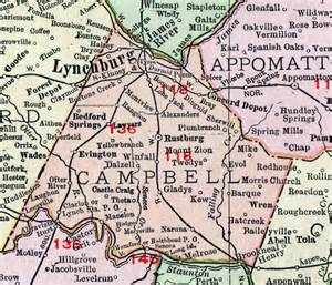 cbell county virginia map 1911 rand mcnally