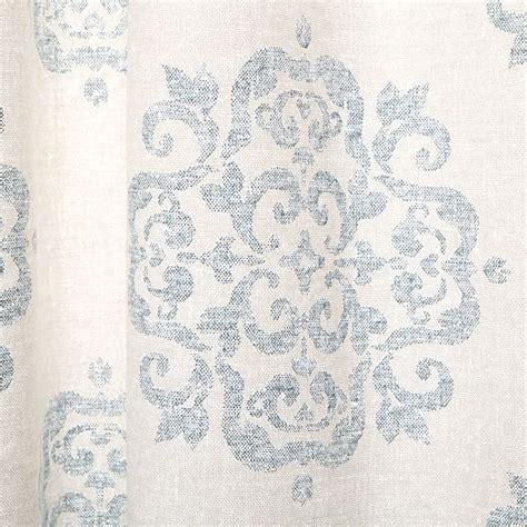 west elm medallion shower curtain cotton canvas scroll medallion curtain smoke blue west elm
