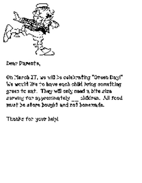Parent Letter Requesting Snacks March Favorite Ideas Package