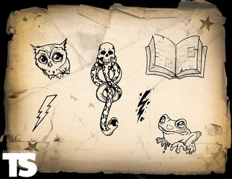 one off tattoo designs harry potter flash sheet from the map tattss