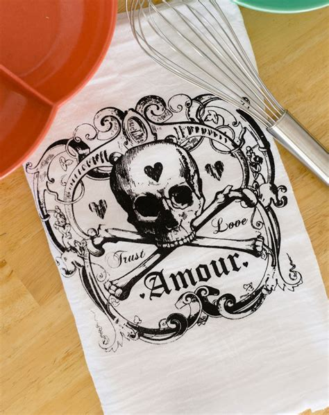 Skull Kitchen Accessories by Skull Towel Set Of Two Amour Tea Towels Printed Kitchen Decor