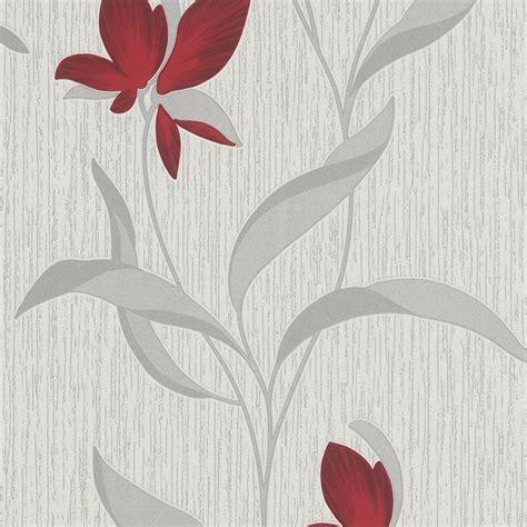 fleur red  silver flower trail wallpaper  erismann