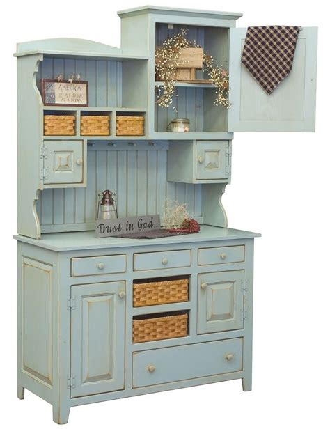 Amish Kitchen Furniture Amish Country Kitchen Hutch Farm House Pantry Cupboard Wood Primitive Furniture Ebay