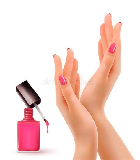 hands  pink polished nails nail polish bottle stock