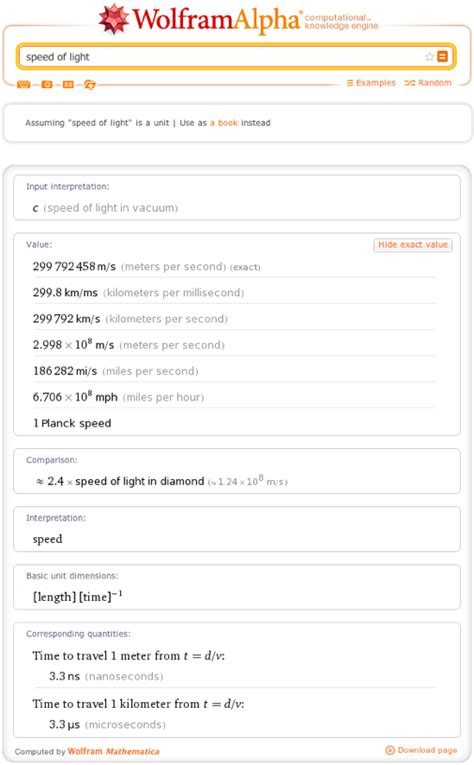 Exact Speed Of Light by Celebrating National Mole Day With Wolfram Alpha Wolfram