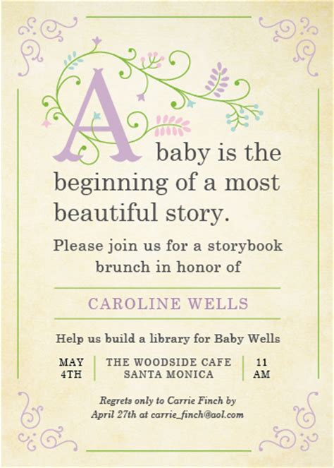 Storybook Baby Shower Invitations by Baby Shower Invitations Storybook At Minted