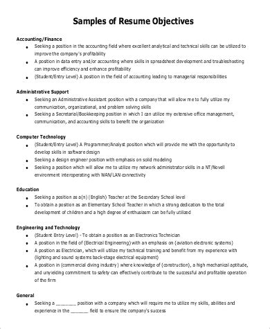 Entry Level Resume Objective by Resume Objective Statement Exles 9 Sles In Pdf