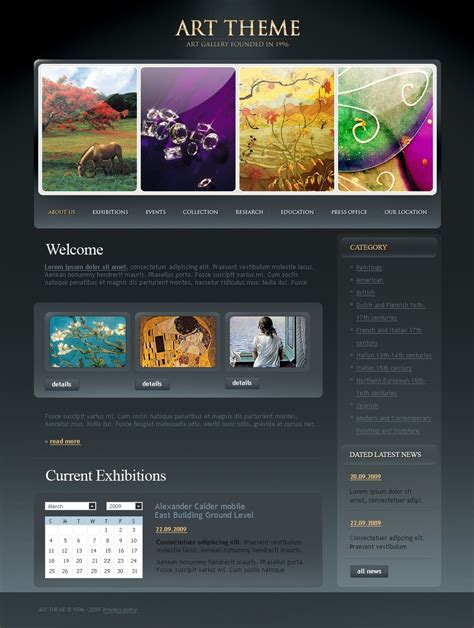 Art Gallery Website Template Web Design Templates Website Templates Download Art Gallery Painting Website Templates