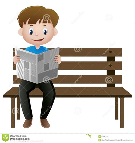 bench manly man reading newspaper on the bench stock vector image