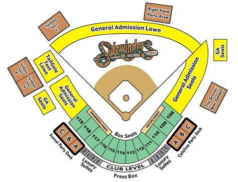 seating diagram tucson padres tickets