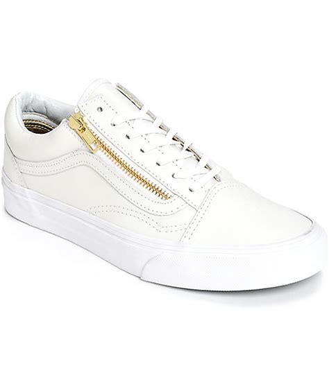 vans skool zip white leather shoes womens at zumiez