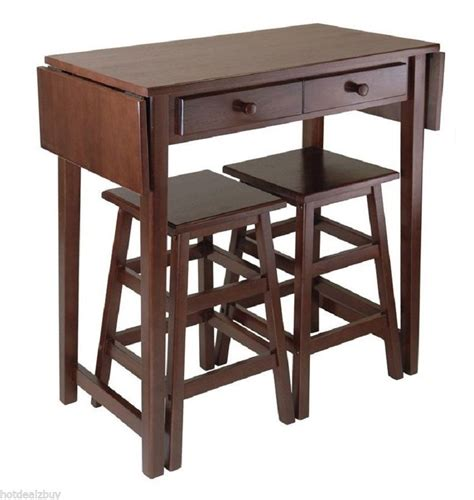 Kitchen Bar Table And Stools Modern 3 Pieces Drop Leaf Table Stools Set Kitchen Dinette Breakfast Bar Storage