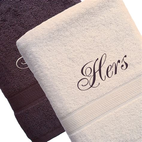mr and mrs towels personalised brown cream bath towels