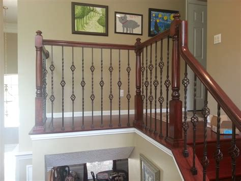 Outdoor Banister Railing Update Wood Balusters To Wrought Iron Balusters
