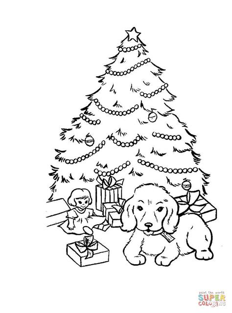 betty page under the christmas tree presents and gifts tree coloring page free printable coloring pages