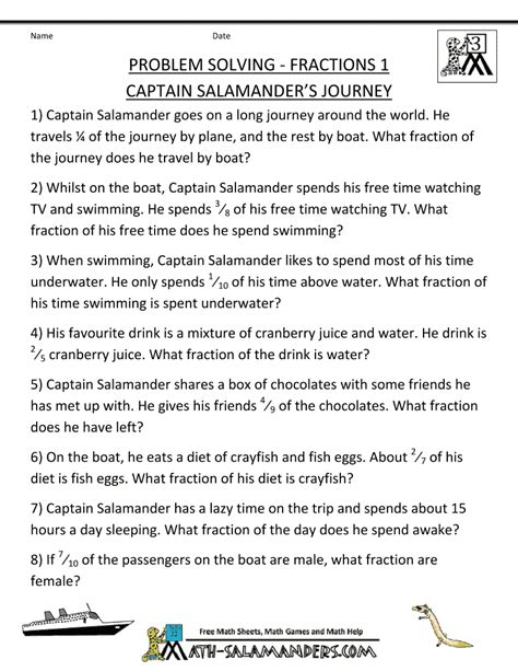 Fraction Problems Worksheet by 3rd Grade Math Word Problems Site Fractions 1 Captain