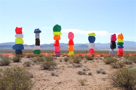 blue colored rocks seven magic mountains adds color to desert near las vegas