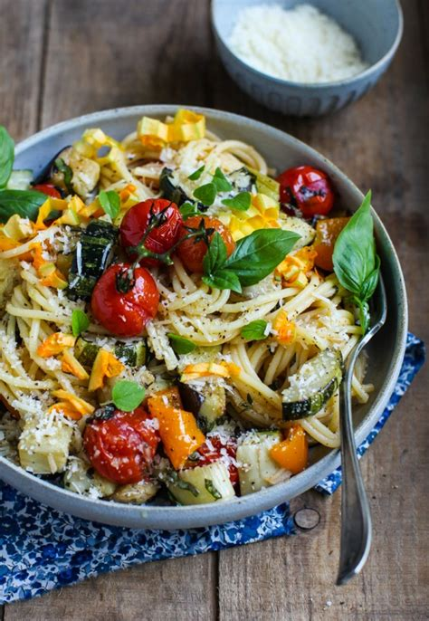eat seasonal easy roasted vegetable spaghetti simple bites