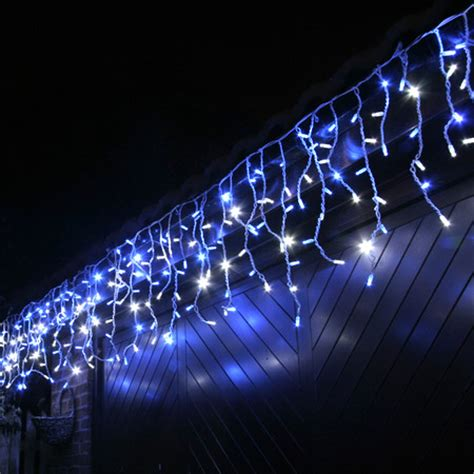 blue icicle lights 100 led blue white outdoor connectable icicle lights