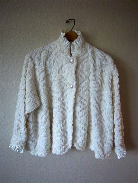 bed jacket chenille bed jacket house jacket ivory vintage chenille